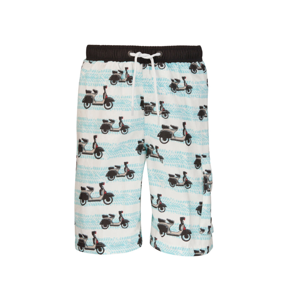 Retro Vespa print long swim shorts in pale blue and white with black waistband. Drawstring waist and large pocket to lower left leg.