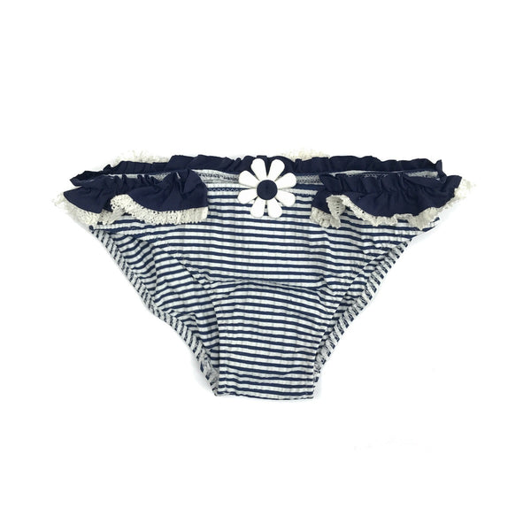 Classic navy and white stripe bikini bottoms with navy and white ruffle trim detail at waist