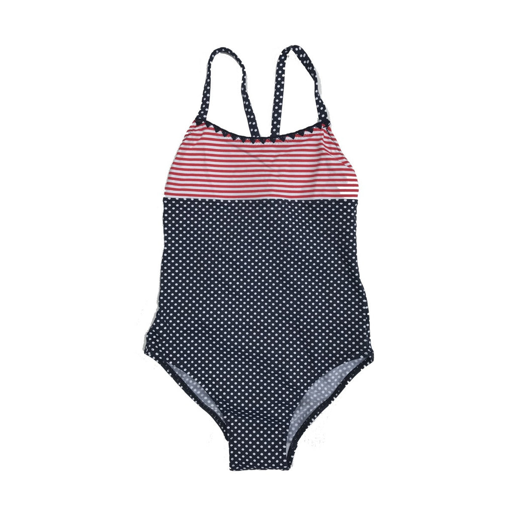 Classic shape swimsuit with shoestring straps. Navy and white polka bottom half, with red and white stripe top section