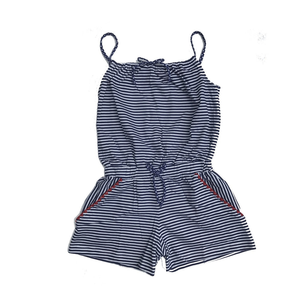 cotton playsuit in classic navy and white stripe. Shorts bottom with side pockets and tucked waist with bow. Shoestring staps and bow at neckline