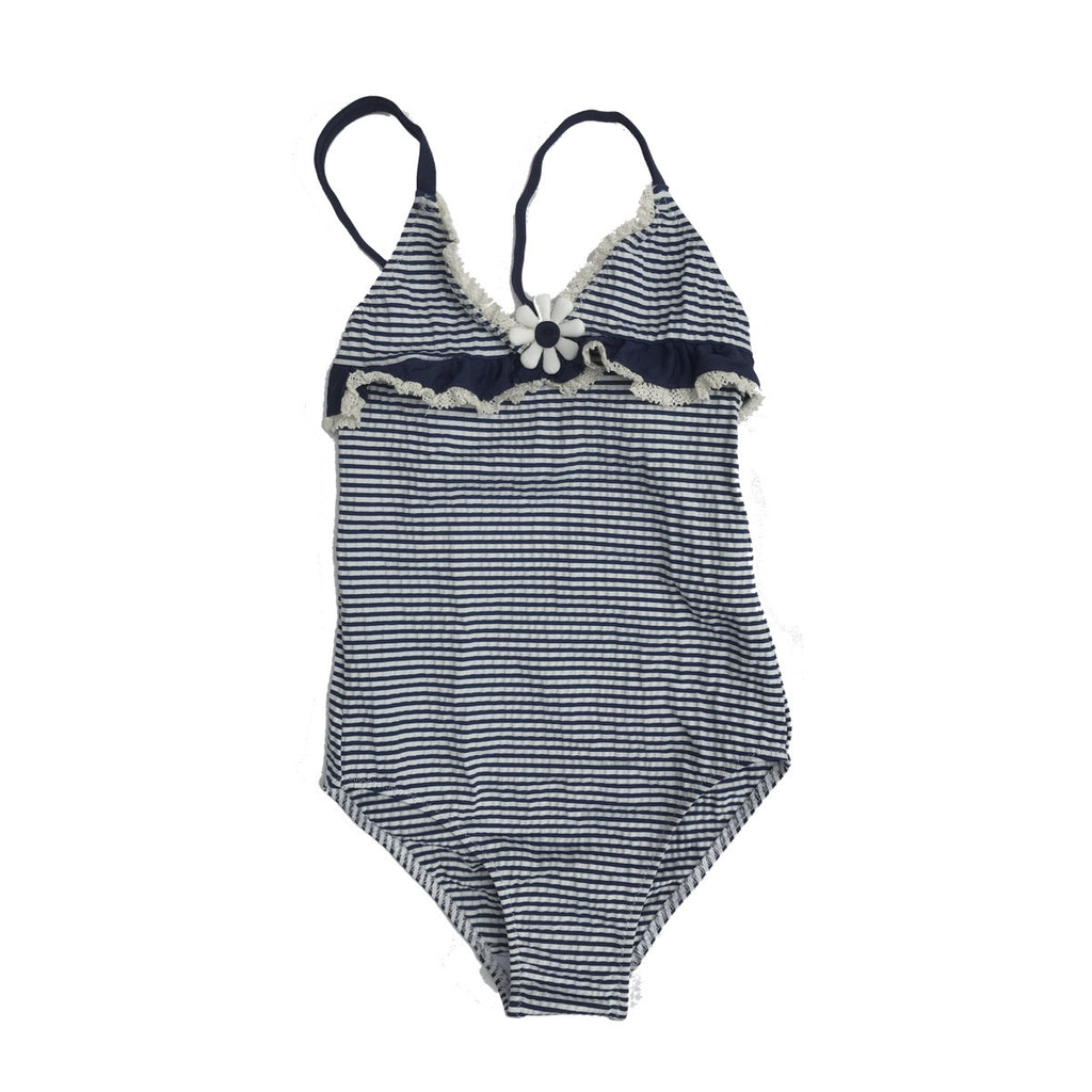Classic navy and white stripe swimsuit in knitted fabric. Triangle shaped top with ruffle trim at bust line