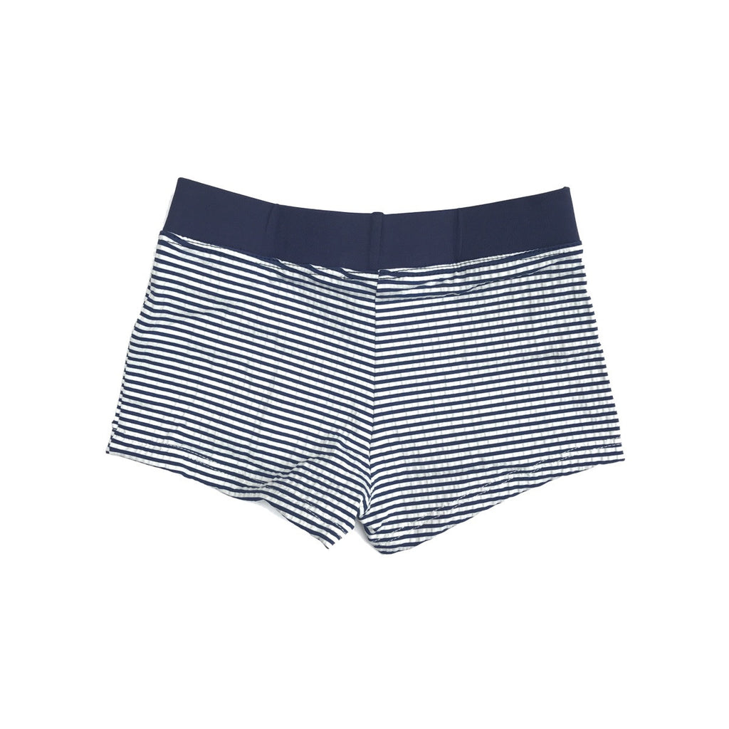 Classic navy and white stripe fitted swim shorts with wide navy waistband