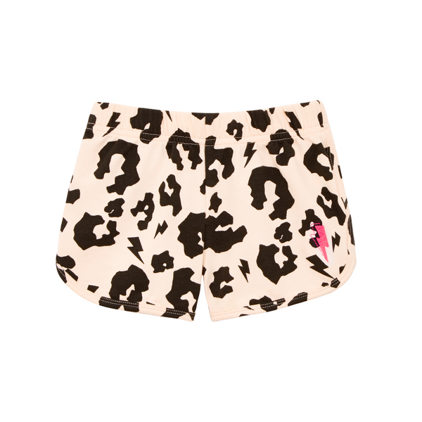 Cool kid blush/peach retro style shorts with signature black leopard and lightning bolt print. Super soft cotton with neon pink lightning bolt embroidered on leg