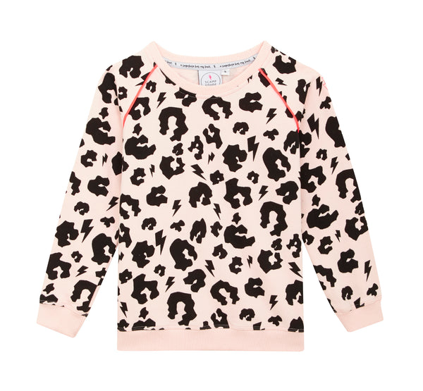 Scamp & Dude unisex blush coloured sweatshirt in supersoft cotton. Features signature leopard print and lightning bolt pattern
