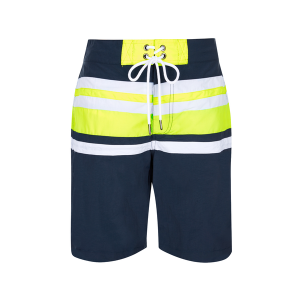 navy boys board shorts with contrast neon yellow and white stripes and drawstring to wais
