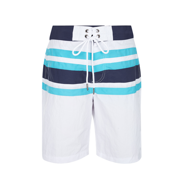 white boys board shorts with vibrant blue and turquoise stripes and drawstring to waist