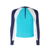back view of long sleeve boys rash vest in turquoise with contrast navy and white sleeves