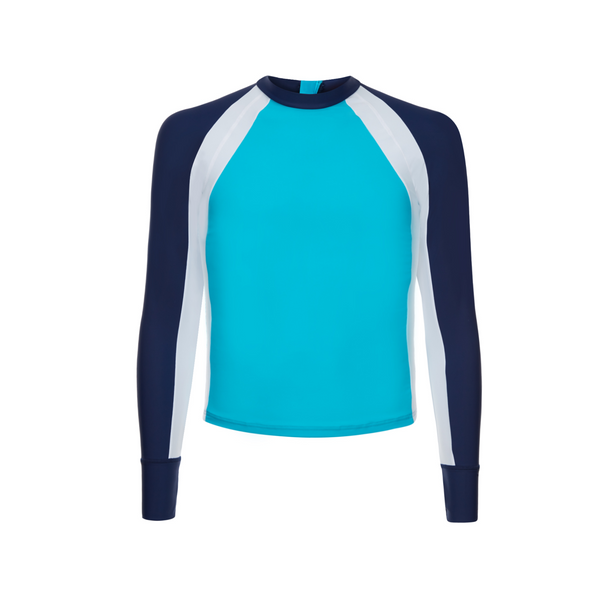 long sleeve boys rash vest in turquoise with contrast navy and white sleeves