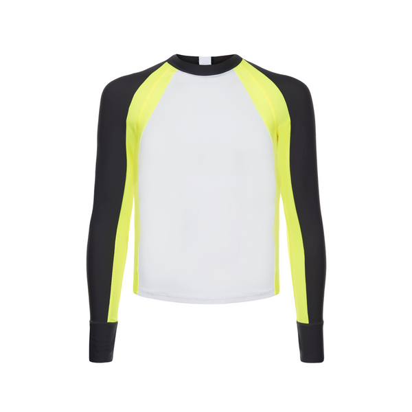 long sleeve boys rash vest in white with contrast navy and neon yellow sleeves