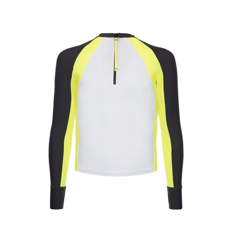 back view of long sleeve boys rash vest in white with contrast navy and neon yellow sleeves. Half zip fastening at back,