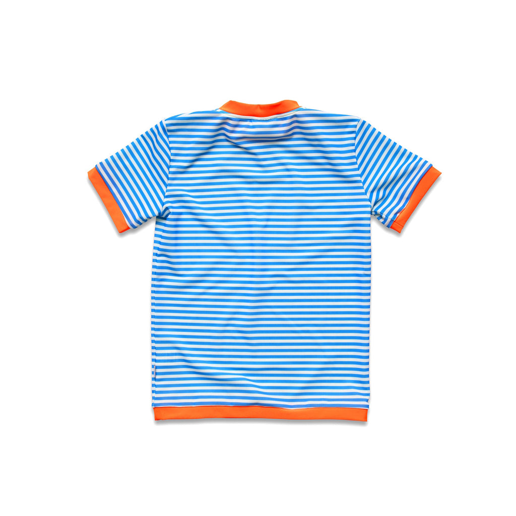 Back view of vivid blue stripe rash vest. Short sleeve with contrast bright orange trim.