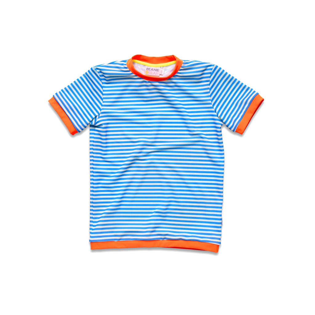 Vivid blue stripe rash vest. Short sleeve with contrast bright orange trim.