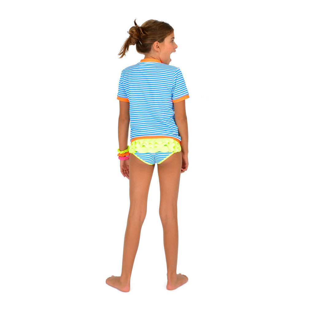 Back view of girl wearing vivid blue stripe rash vest. Short sleeve with contrast bright orange trim