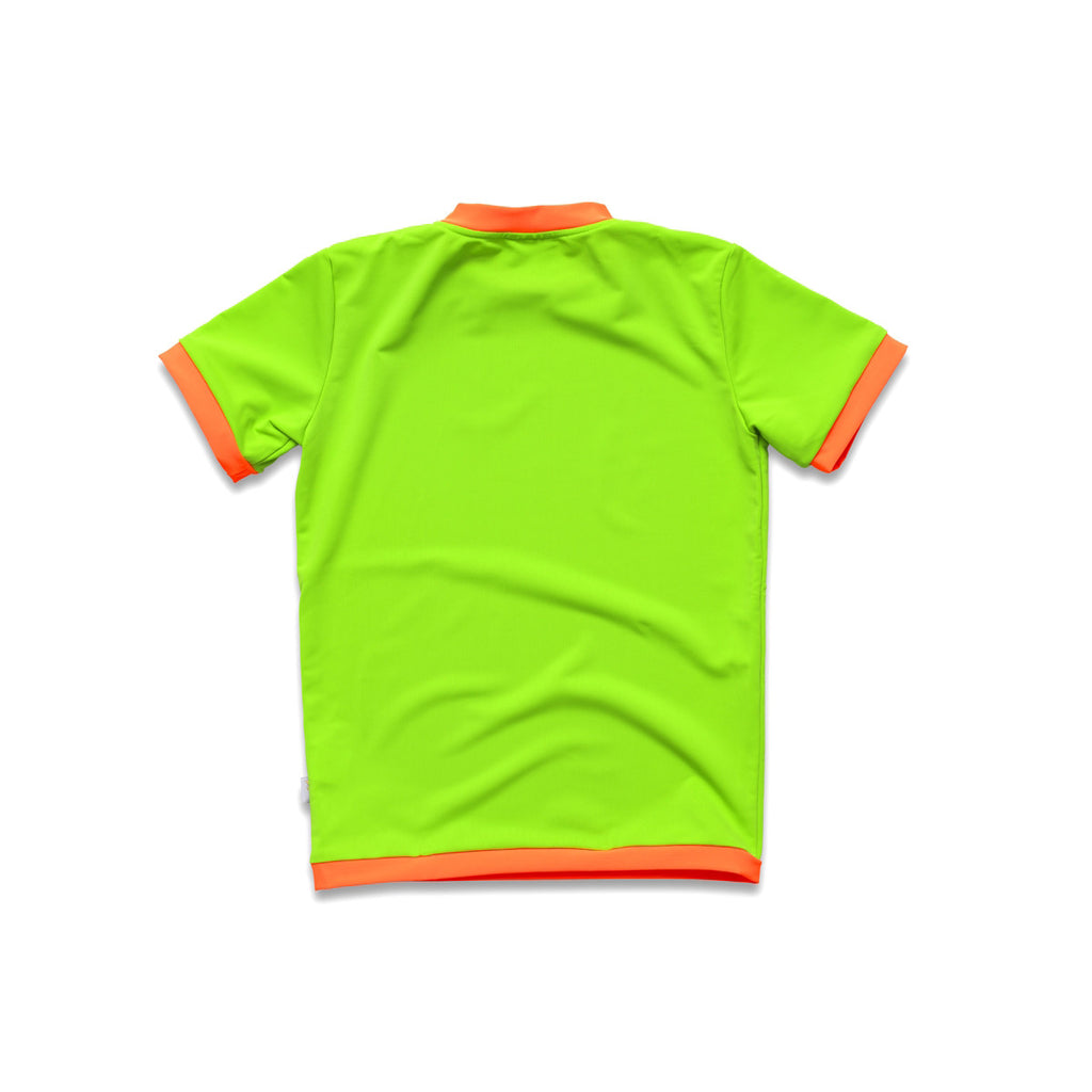 Back view of neon green rash vest. Short sleeve with contrast orange trim