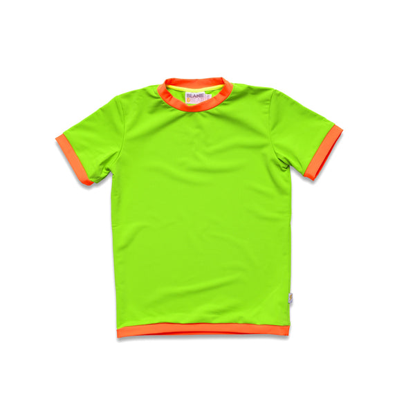 Neon green rash vest. Short sleeve with contrast orange trim.
