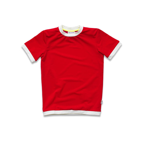 Bright red rash vest. Short sleeve with contrast white trim