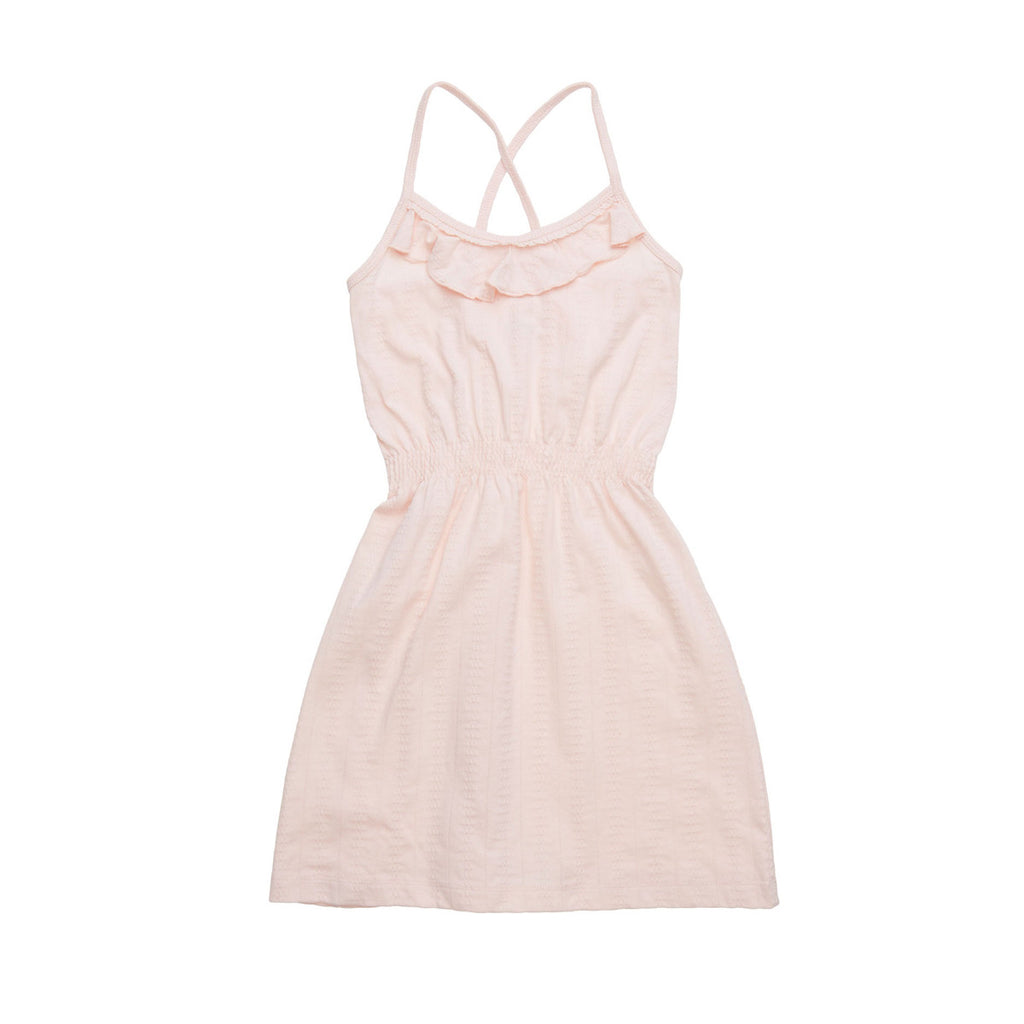 Pretty pale pink beach dress with tucked waist, crossover back straps and ruffle detail to neckline