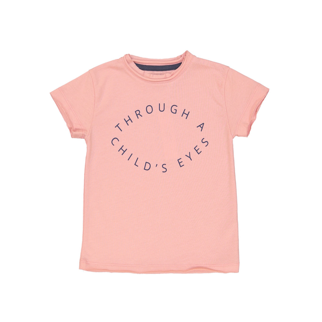 Soft pink cotton t-shirt with 'Through a child's eyes' circular slogan print to front