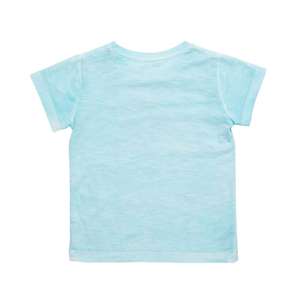 Back view of pale blue t-shirt. Washed-look finish in soft cotton mix