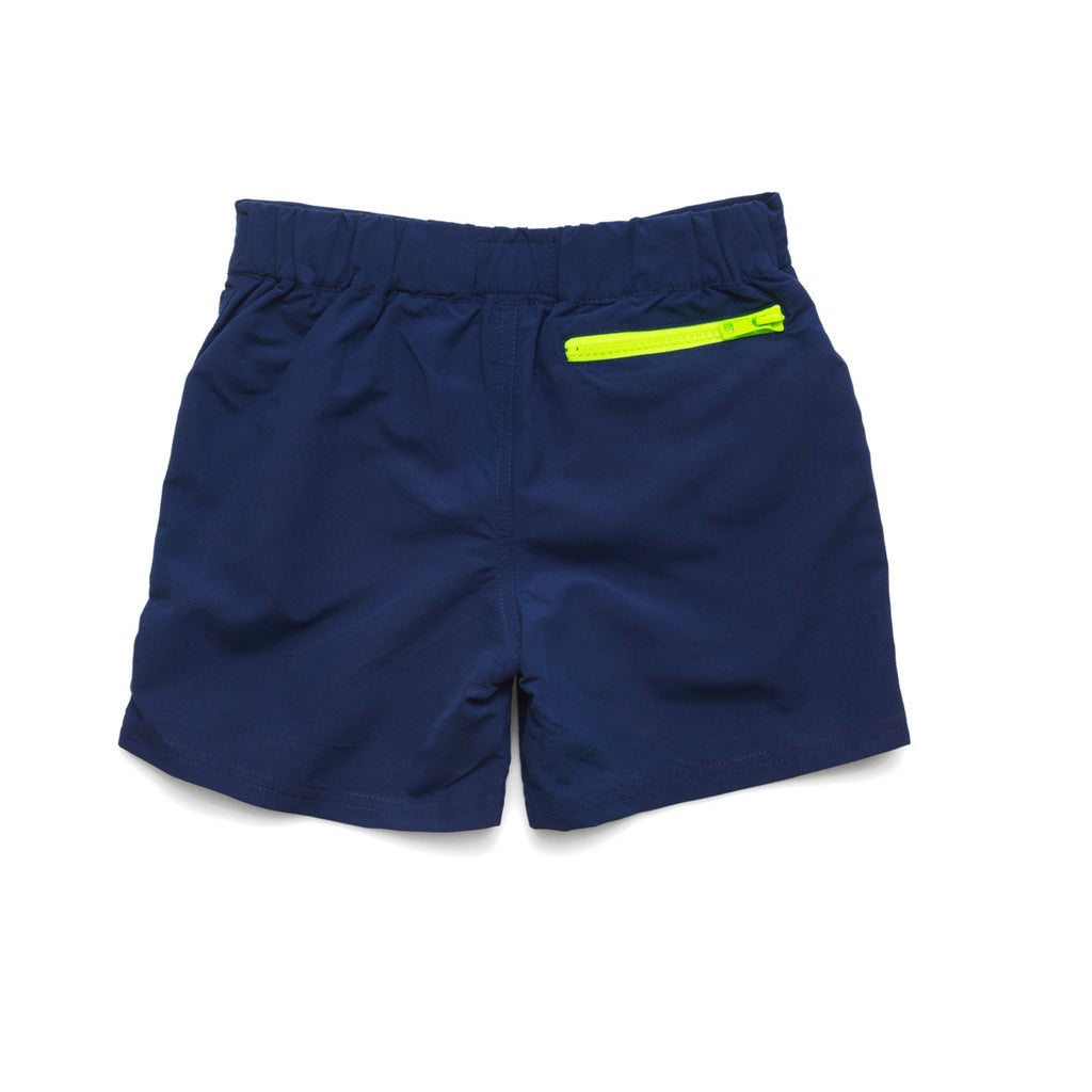 Back view of navy tailored swim shorts with contrast zip detail. Adjustable waist, side pockets, quick drying fabric