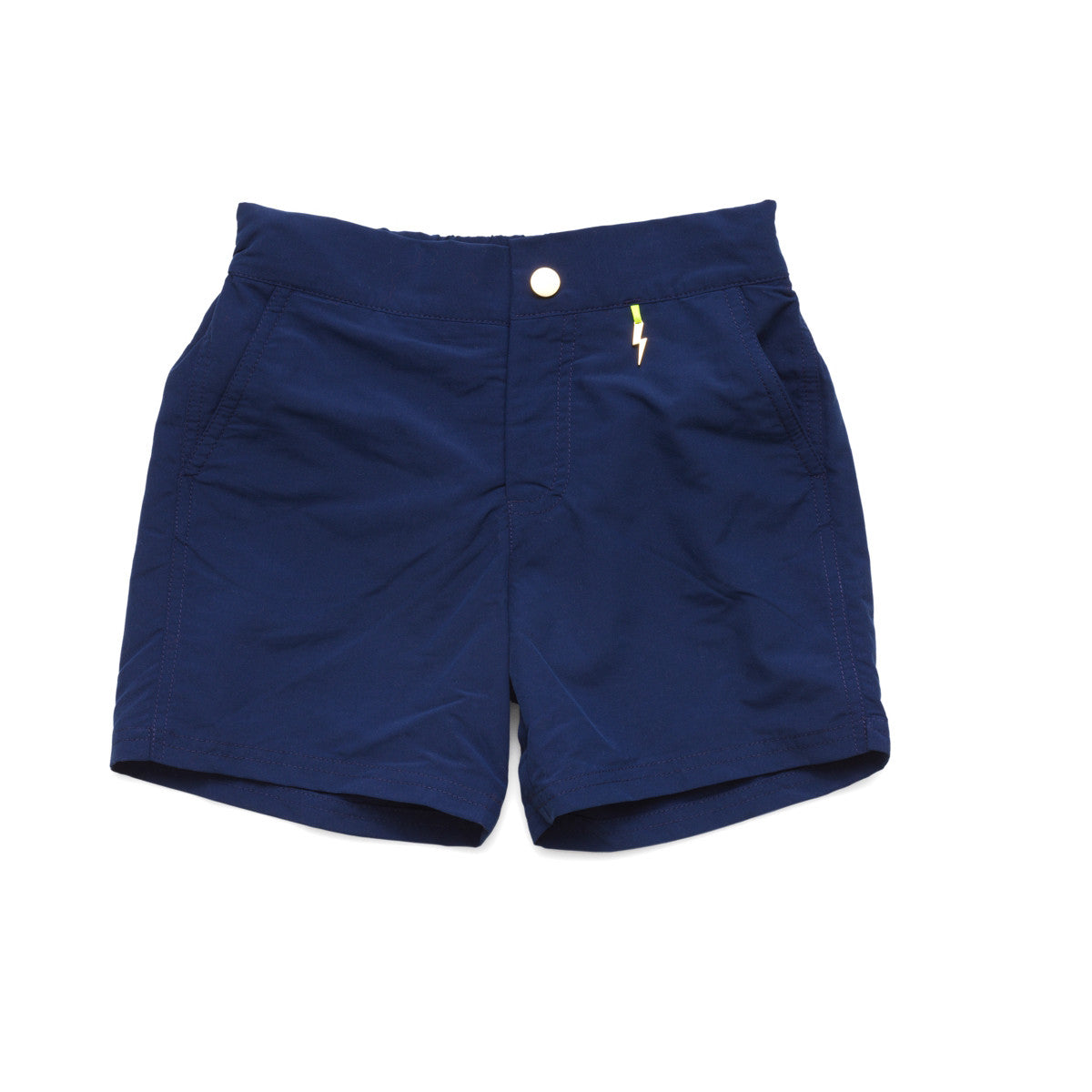 a1c9d748a8 Navy tailored swim shorts with contrast zip detail. Adjustable waist, side  pockets, quick