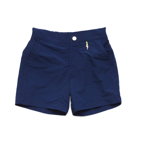 Navy tailored swim shorts with contrast zip detail. Adjustable waist, side pockets, quick drying fabric