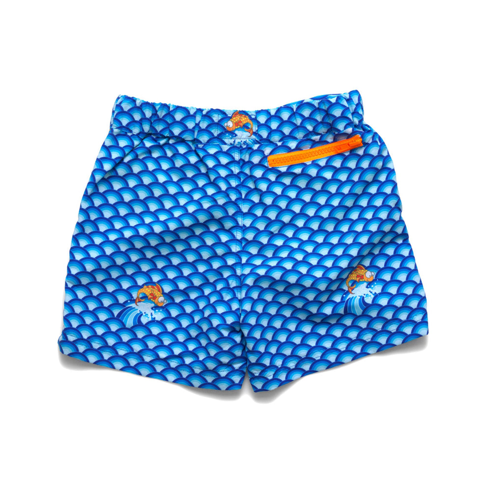 Back view of vibrant blue wave pattern tailored swim shorts. Adjustable waist, contrast zip, side pockets, quick drying fabric