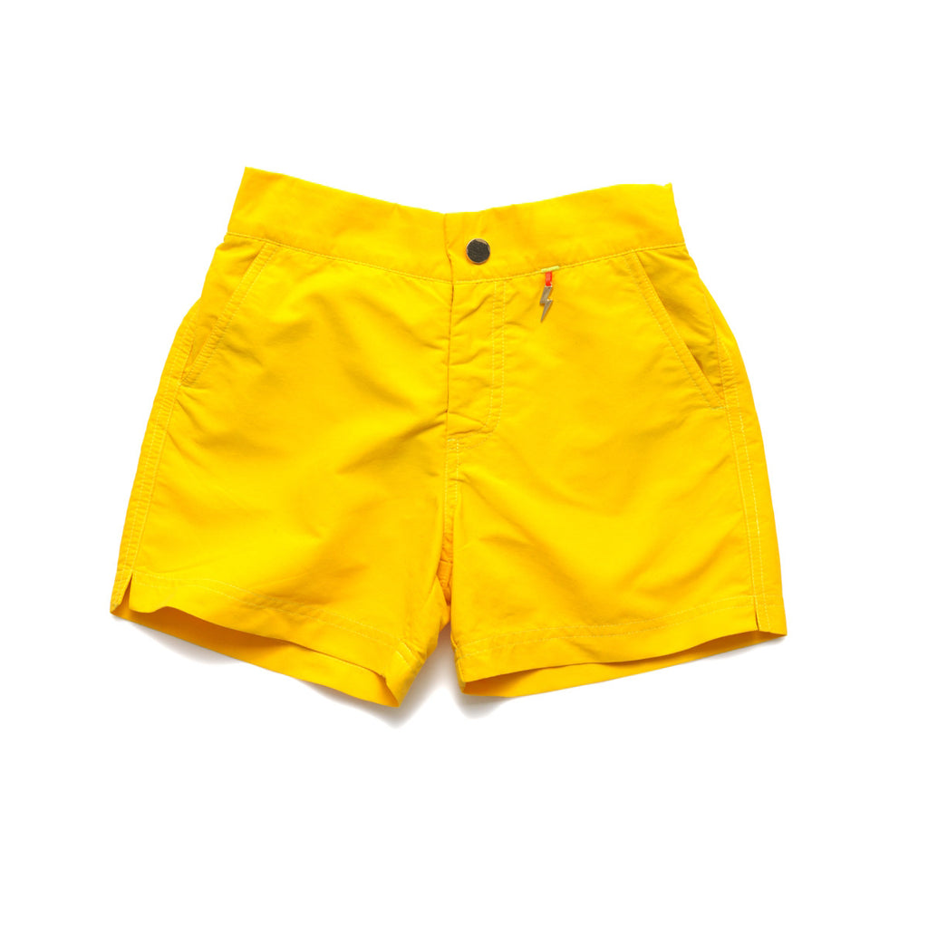 Bright yellow tailored swim shorts with contrast zip detail. Adjustable waist, side pockets, quick drying fabric