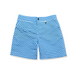Front view of blue geometric cube pattern boys swim shorts. Side pockets and lightening bolt silver tag.
