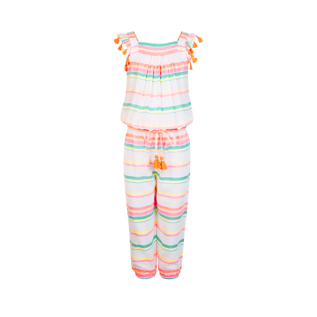 Super cute playsuit in white with multi-coloured soft neon stripes and tassel drawstring to waist and tassel detail to sleeves