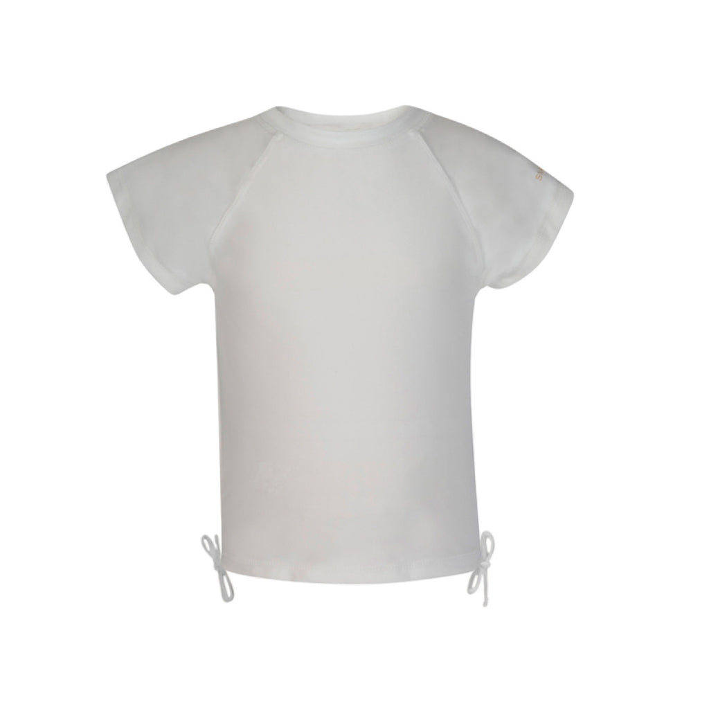 White short sleeve rash vest with pretty tie side detail and subtle 'Snapper Rock' gold logo design to left sleeve.