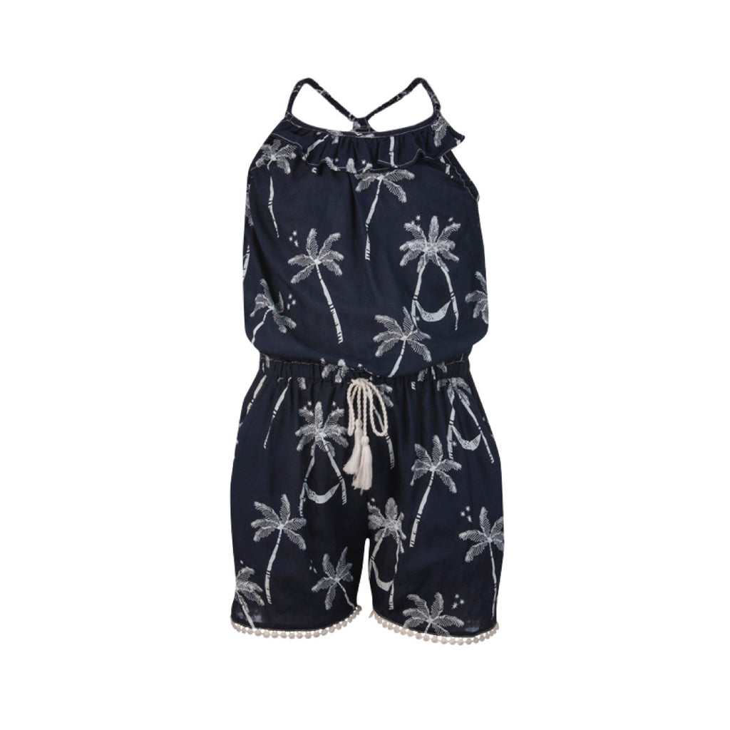 Navy and white palm print onesie with white tassel detail down sides and hem and drawstring waist.