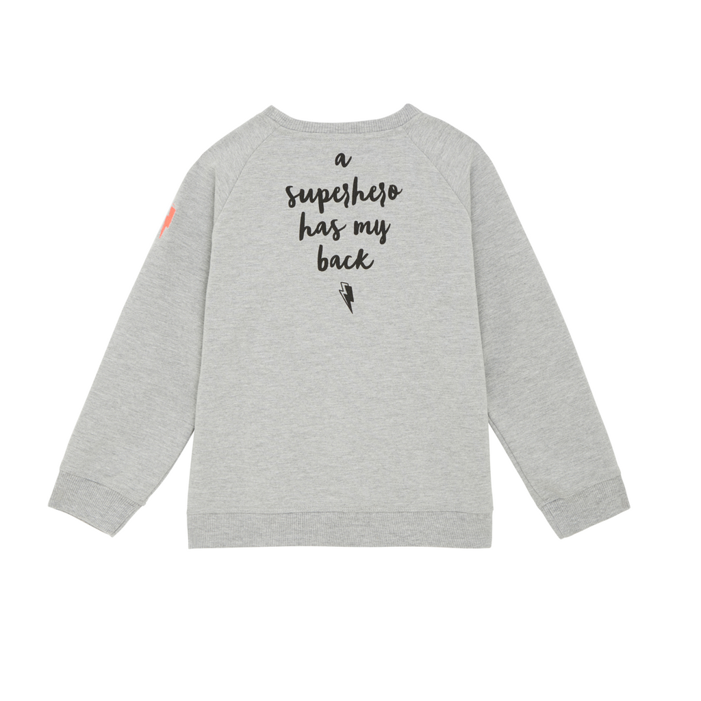 "back view of round neck unisex sweatshirt in grey with ""a superhero has my back"" slogan on reverse"