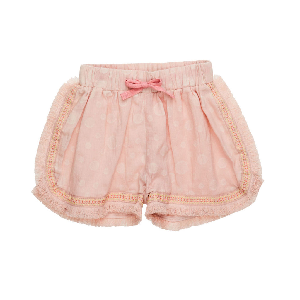 Pretty light pink shorts with subtle bubble allover print. Drawstring tie front, frayed edges and embroidered detail