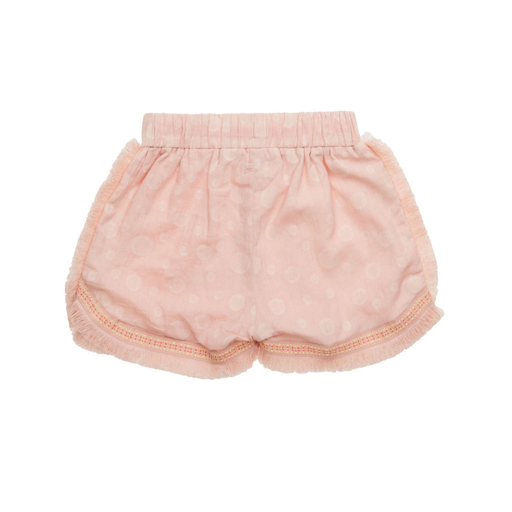 Back view of pretty light pink shorts with subtle bubble allover print. Drawstring tie front, frayed edges and embroidered detail