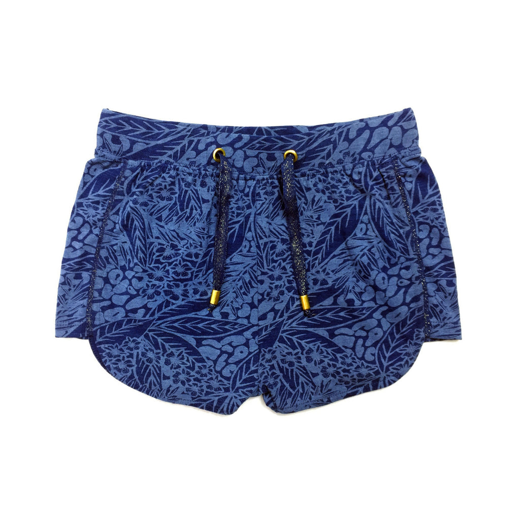 Sport style shorts in indigo dyed cotton fabric with hand painted tropical print.  100% cotton. Elasticated waist for comfort and a functioning drawstring to adjust for fit.