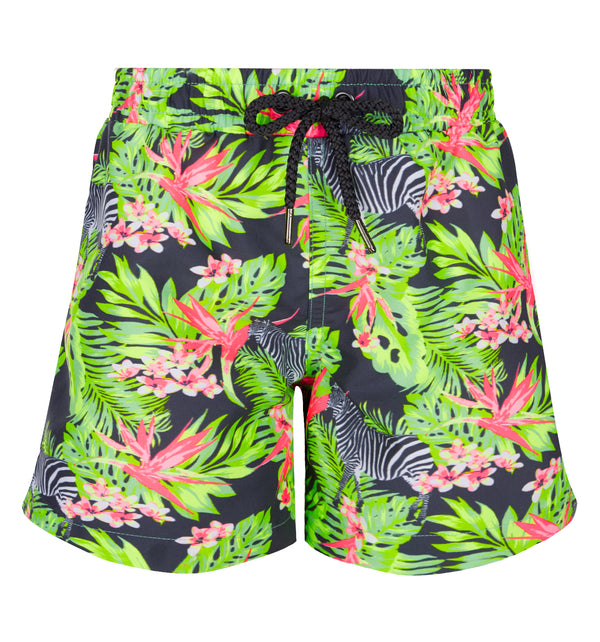 Super bright and bold jungle print boys swim shorts. Tropical coral and greens with funky hidden zebras