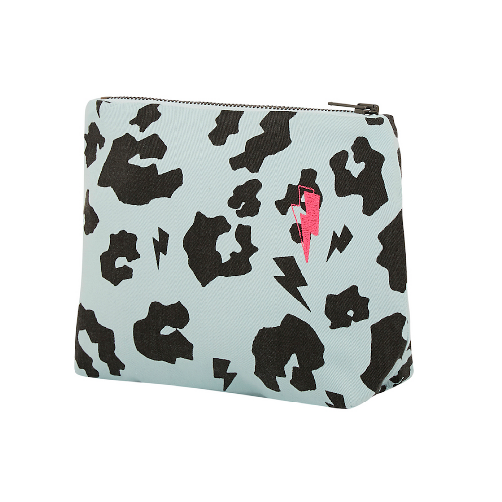 Side angle view of supersoft cotton multi purpose mini swag bag in pale green with signature black leopard and lightning bolt print. 25cm x 18cm with zip closure