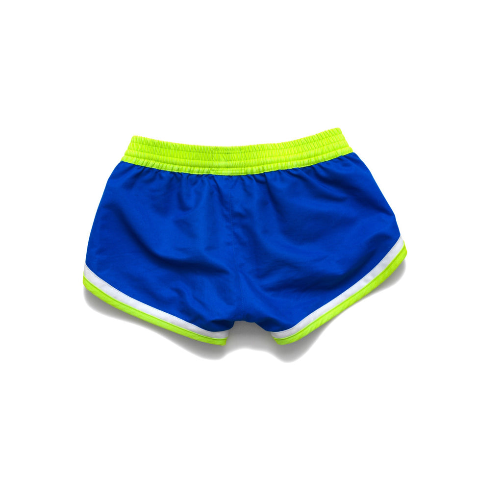 Back view of funky boxer-style elasticated shorts with pockets. Bright blue with contrast neon waistband, trim and tie