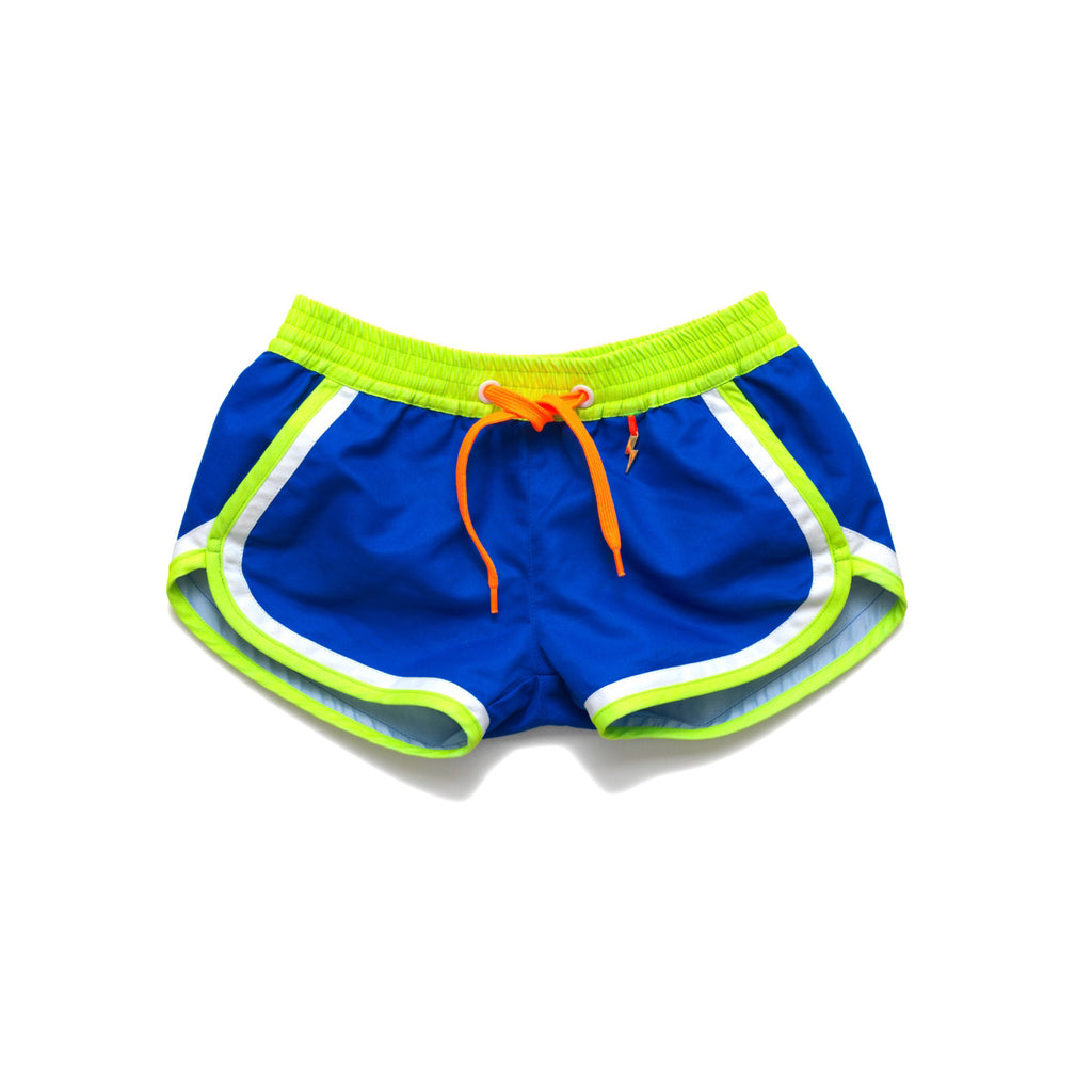 Funky boxer-style elasticated shorts with pockets. Bright blue with contrast neon waistband, trim and tie.