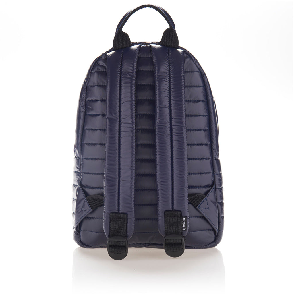 Back view of navy blue small backpack. Made from durable shiny nylon puffer material with quality components