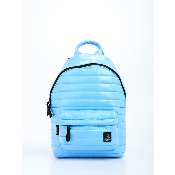 Front view of light blue small backpack. Made from durable shiny nylon puffer material with quality components. Large main section and small front pocket