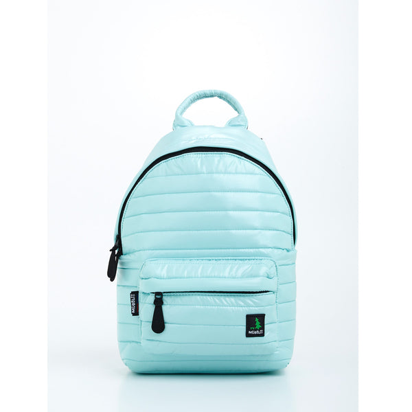 Front view of light green small backpack. Made from durable shiny nylon puffer material with quality components. Large main section and small front pocket