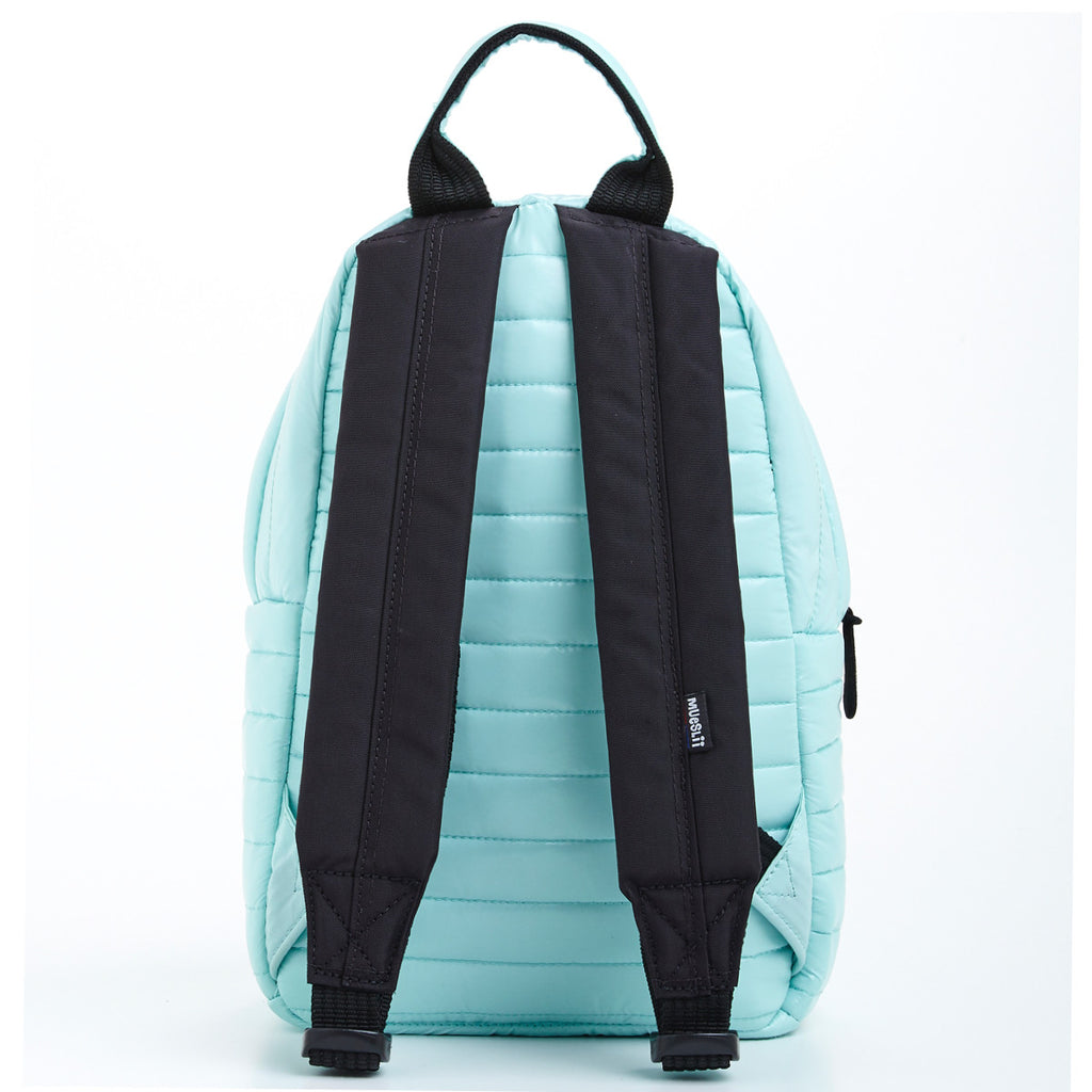 Back view of light green small backpack. Made from durable shiny nylon puffer material with quality components. Contrast black straps and zips