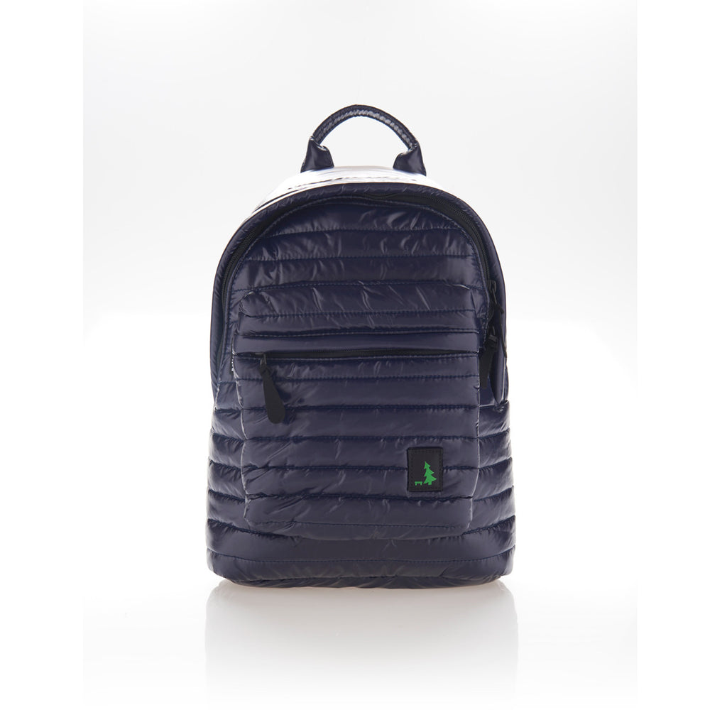 Front view of navy blue small backpack. Made from durable shiny nylon puffer material with quality components. Large main section and small front pocket