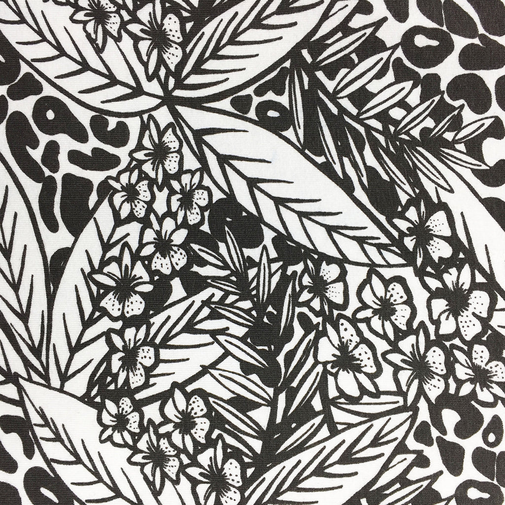 Close up of black and white tropical print