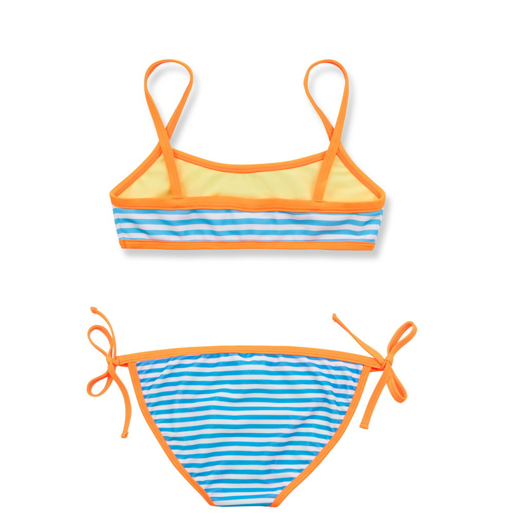 Back view of bright blue and white stripe bikini with contrast neon orange trim. Classic tie side bottoms with simple scooped bikini top.
