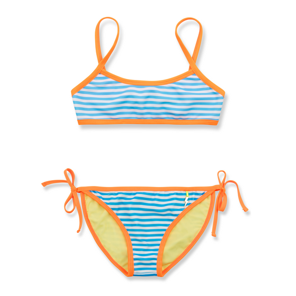 Front view of bright blue and white stripe bikini with contrast neon orange trim. Classic tie side bottoms with simple scooped bikini top.