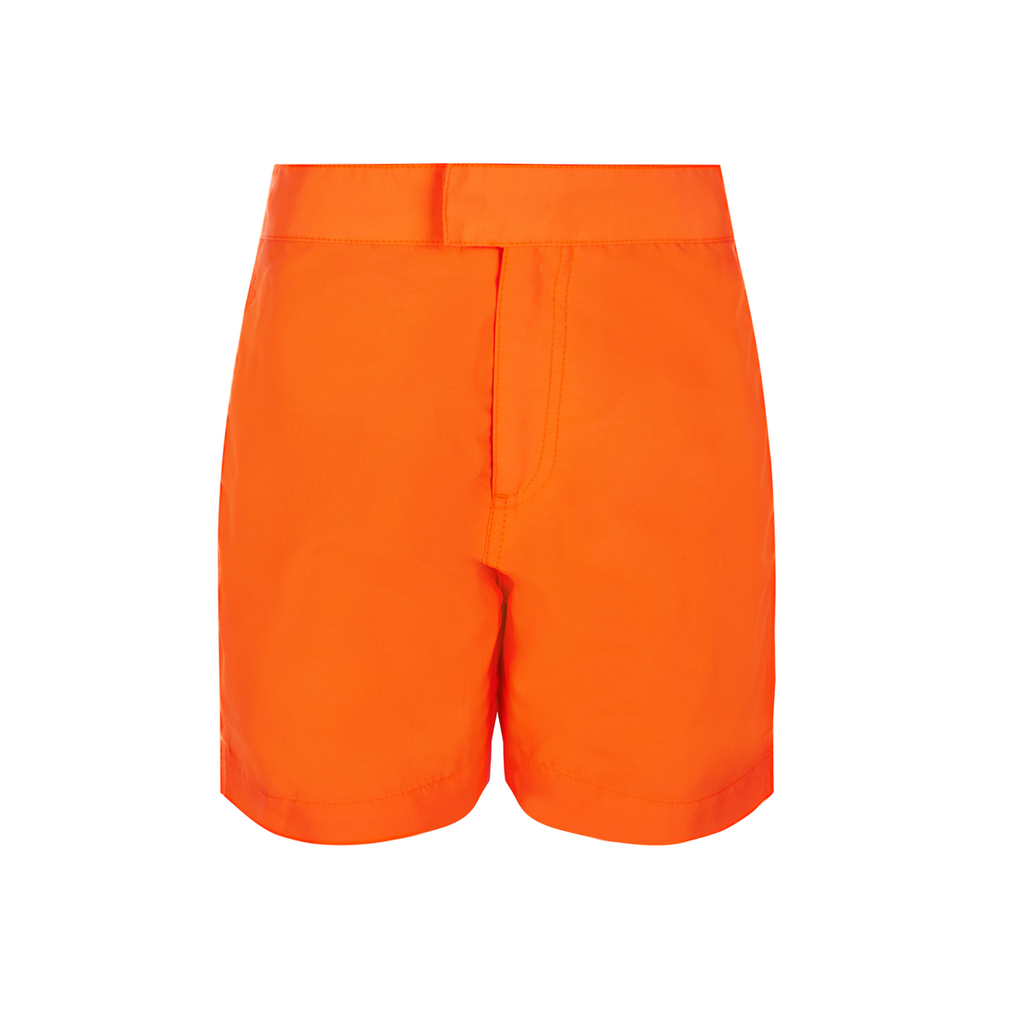 Classically simple yet super bright and stylish, funky neon orange tailored swim shorts in quick-drying UPF50+ premium fabric.