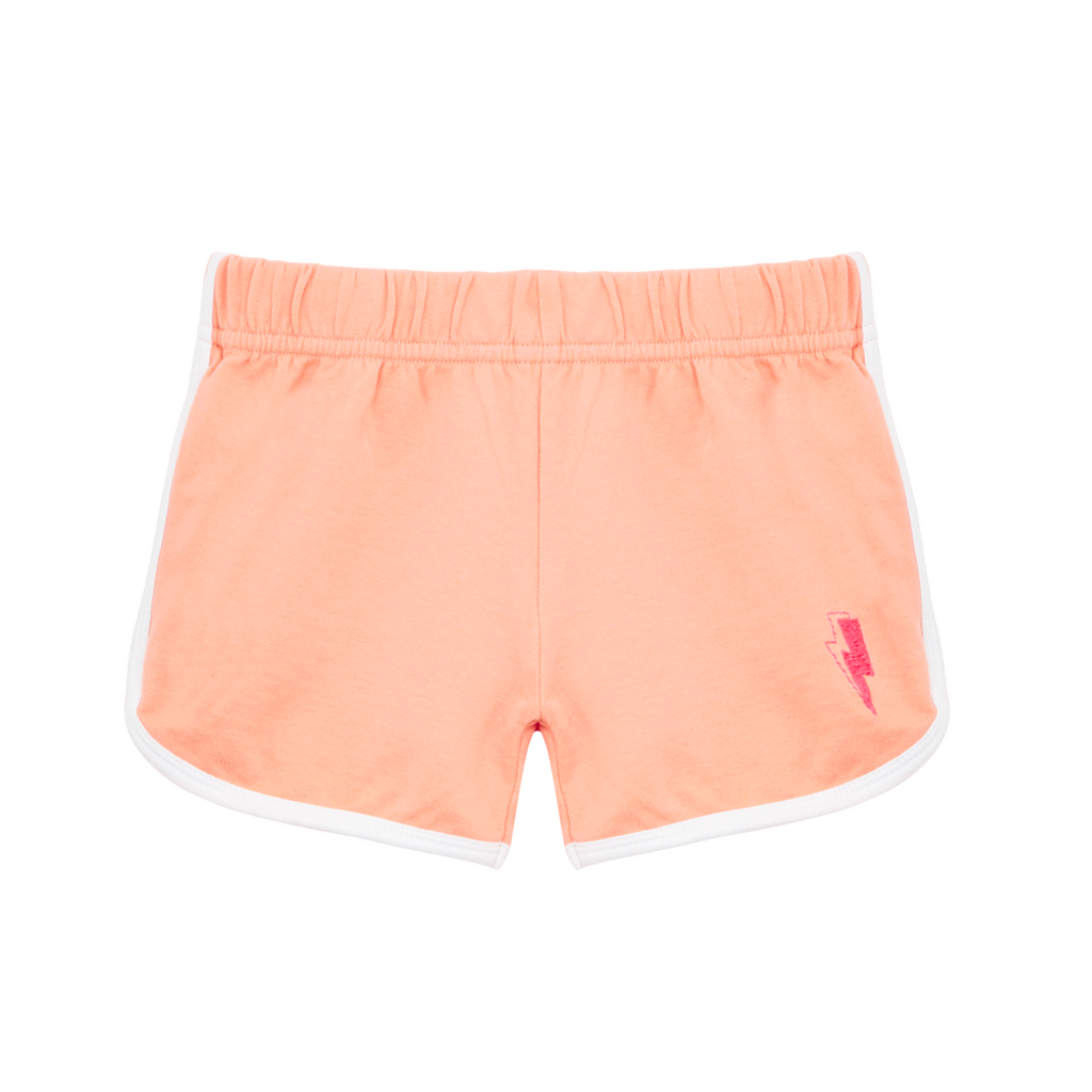 Cool kid pale coral retro style shorts in super soft cotton. Neon pink lightning bolt embroidered on leg